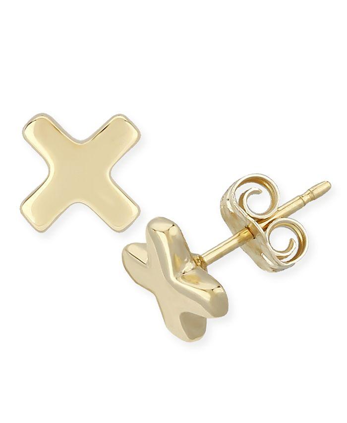"""Macy's - """"X"""" Shape Stud Earrings Set in 14k Yellow Gold (8mm)"""