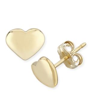 Flat Heart Stud Earrings Set in 14k Gold (8mm)