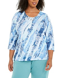 Plus Size Pearls Of Wisdom Lace-Trimmed Top