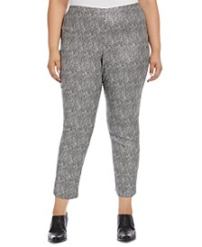 Plus Size Metallic Jacquard Piper Pants