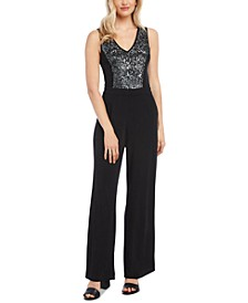 Sequined Wide-Leg Jumpsuit