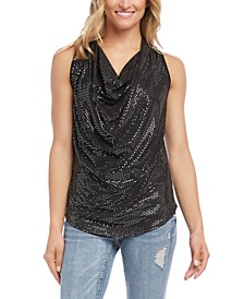 Sequined Cowlneck Top