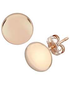 Flat Ball Stud Earrings Set in 14k Rose Gold (7mm)