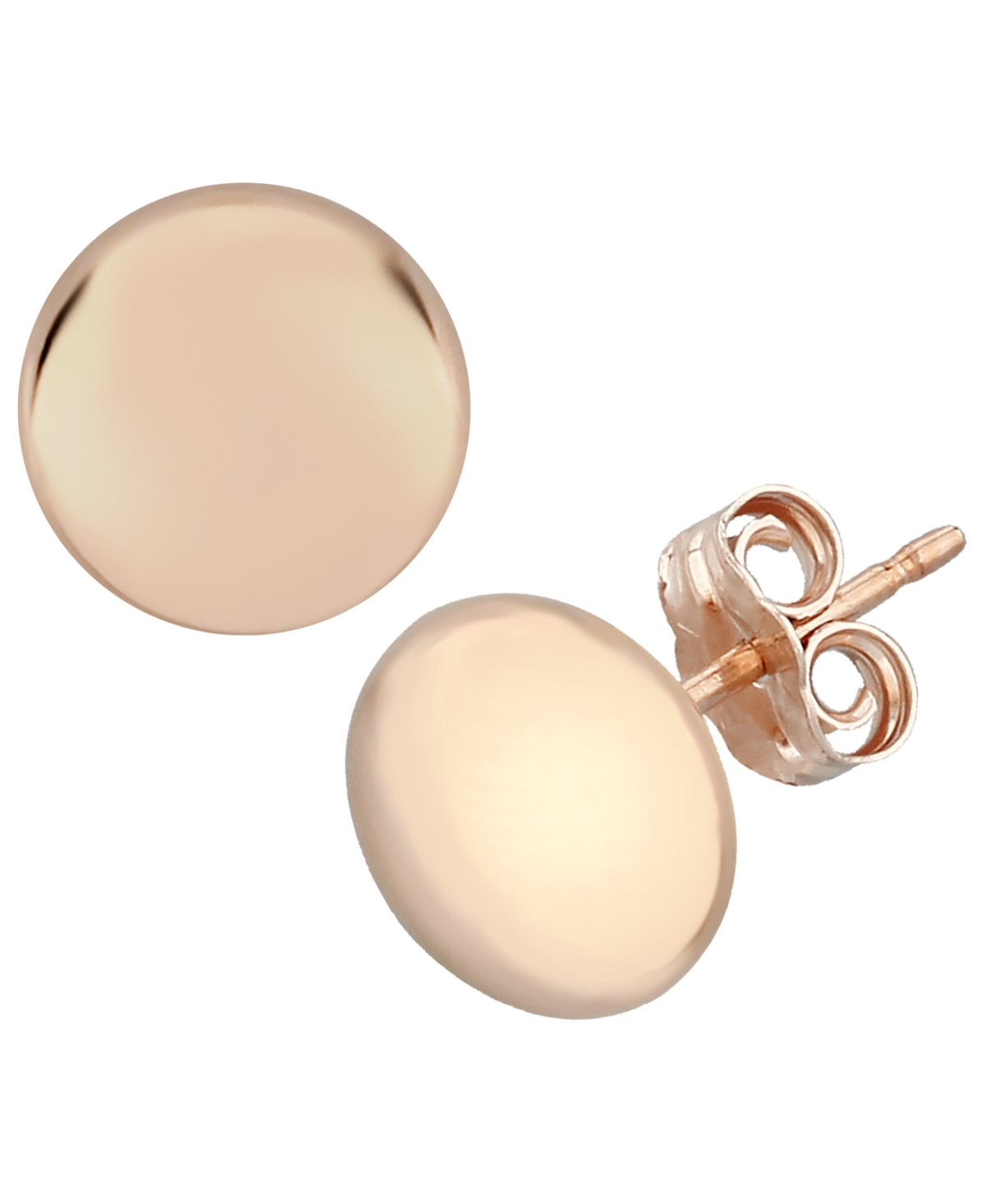Flat Ball Stud Earrings Set in 14k Rose Gold (7mm)