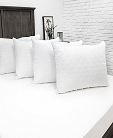 Fiber Bed Pillow with 100% Cotton Fabric and 250 Thread Count 100% Cotton Zippered Pillow Cover - 4 Pack