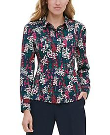 Floral-Plaid Button-Up Blouse