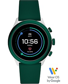 Men's Sport HR Green Silicone Strap Touchscreen Smart Watch 43mm, Powered by Wear OS by Google™