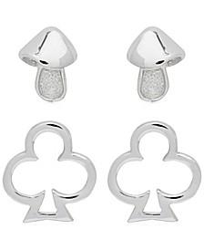 Link Up 2-Piece Set Mushroom and Club Sterling Silver Stud Earrings