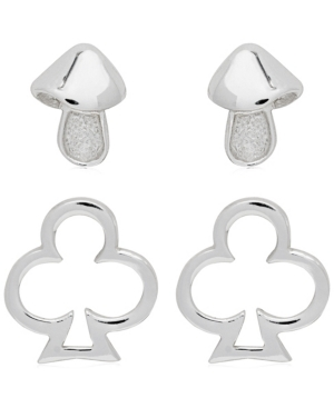 2-Piece Set Mushroom and Club Sterling Silver Stud Earrings