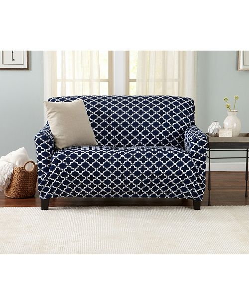 Magnificent Home Fashions Designs Brenna Collection Stretch Fit Form Fitting Printed Twill Loveseat Slipcover Unemploymentrelief Wooden Chair Designs For Living Room Unemploymentrelieforg