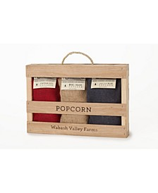 Burlap Popcorn Wooden Box Set