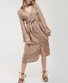 Striped Midi-Dress with Tie-Front