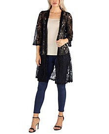 Sheer Black Lace Open Front Cardigan