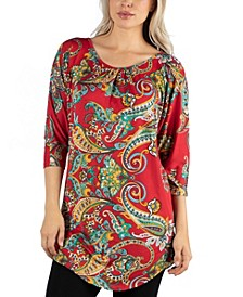 Women Three Quarter Sleeve Red Paisley Tunic