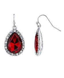 Crystal Accent Teardrop Wire Earrings
