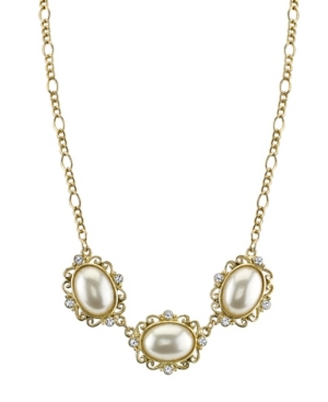Simulated Imitation Pearl Crystal Collar Necklace