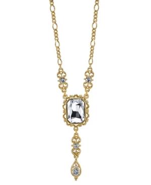 Rectangular Crystal Pendant with Drop Necklace