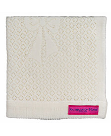 Southampton Home Lace Weave Bears Bows Baby Blanket