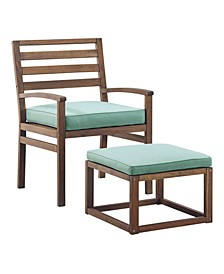 Acacia Wood Outdoor Patio Chair with Pull Out Ottoman