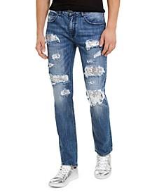 INC Men's Slim-Straight Sequin Rip-Repair Jeans