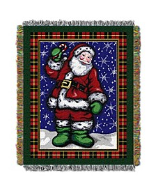 Plaid Santa Tapestry Throw