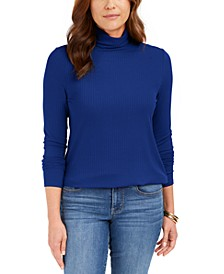 Heathered Ribbed Turtleneck Top, Created for Macy's