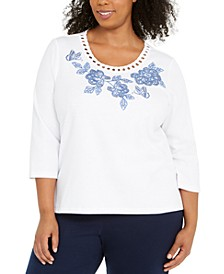 Plus Size Pearls Of Wisdom Embellished Top