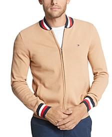 Men's Basic Color Tipped Full-Zip Sweater