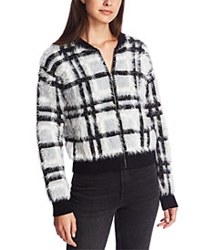 Plaid Eyelash Zip-Up Cardigan Sweater
