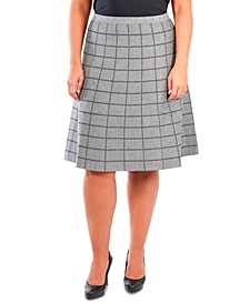 Plus Size Pull-On Window Pane Skirt
