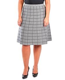 Plus Size Pull-On Window Pane Skirt