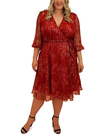 Plus Size Metallic Silk Wrap Dress