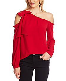 Ruffled One-Shoulder Bow Blouse