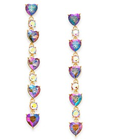 INC Gold-Tone Crystal Heart Linear Drop Earrings, Created For Macy's