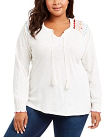 Plus Size Embroidered Cotton Tie-Neck Top, Created For Macy's
