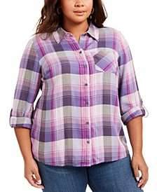 Plus Size Plaid Button-Front Shirt, Created For Macy's