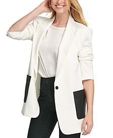 Faux-Leather-Pocket Jacket