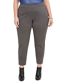 Plus Size Printed Pull-On Ponte Pants