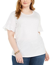 Plus Size Metallic Foiled Flutter-Sleeve Top