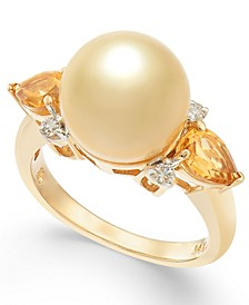 Cultured Golden South Sea Pearl (10mm), Citrine (3/4 ct. t.w.) & Diamond (1/10 ct. t.w.) Ring in 14k Gold