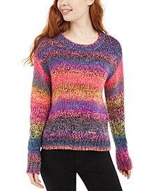 Juniors' Ombre-Striped Pullover Sweater
