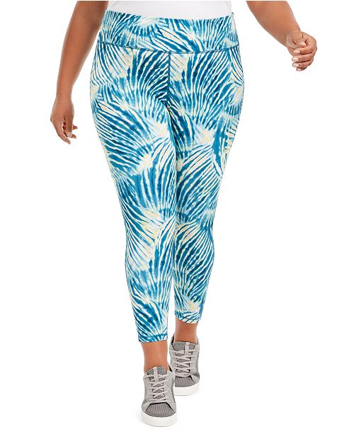 Ideology Plus Size Tropical Print Pull-On Leggings, Created For Macy's