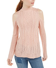 Juniors' Mixed-Knit Cold-Shoulder Sweater