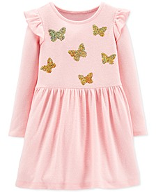 Toddler Girls Sequin-Butterflies Jersey Dress