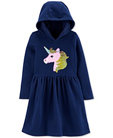 Little & Big Girls Hooded Flip-Sequin Unicorn Fleece Dress