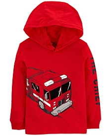 Toddler Boys Hooded Firetruck-Print Cotton T-Shirt