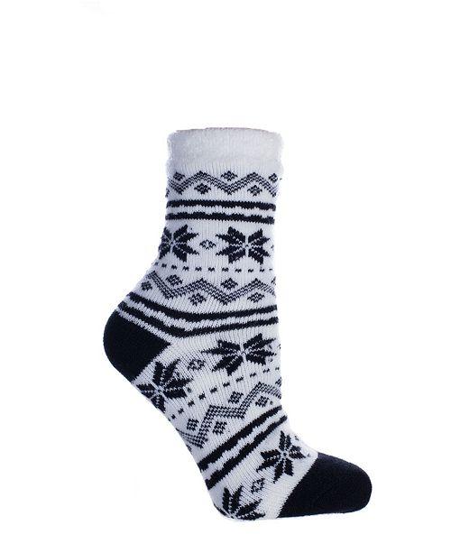 MinxNY Women's Snowflakes Double Layer Shea Butter Infused Slipper Socks