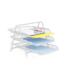 3 Tier Mesh Paper File Tray, Desk Organizer with 3 Sliding Trays