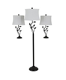 Decor Therapy Organic Leaf 3 Pack Lamp Set Set of 2