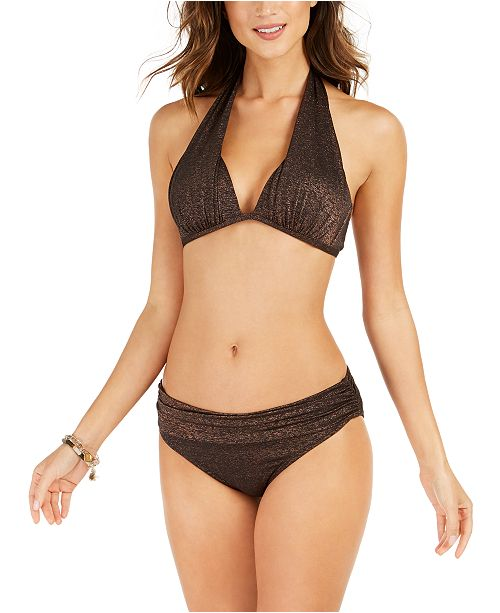 Kenneth Cole Day Glow Push-Up Halter Bikini Top & Ruched Hipster Bikini Bottoms